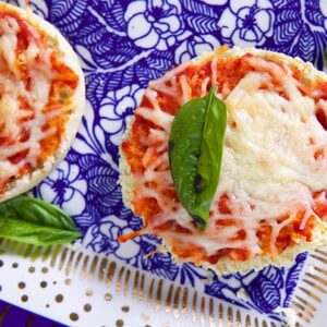English Muffin Pizza on a blue and white platter.