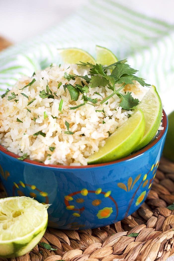 Cilantro Lime Rice in a blue bowl.