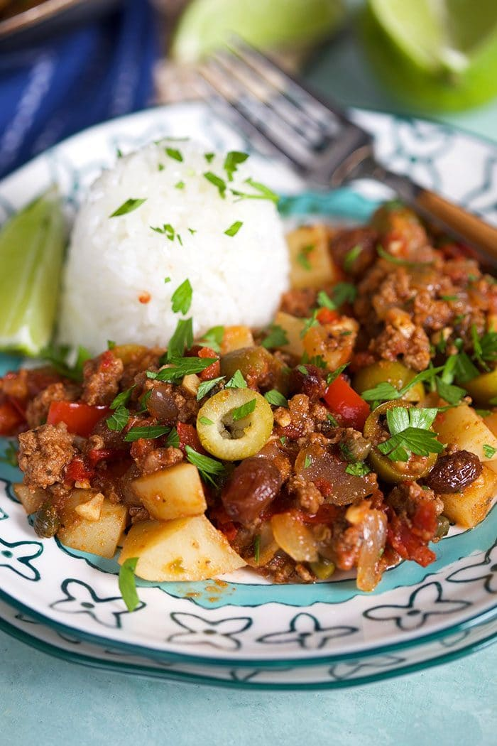 Close up of picadillo on a plate.