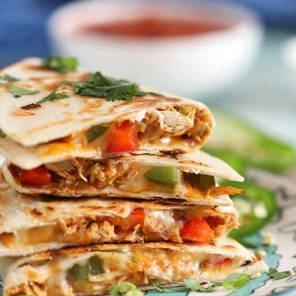 Stack of fajita chicken quesadillas
