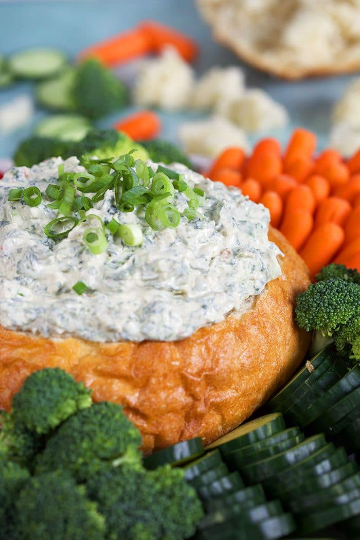 Close up of Knorr Spinach Dip recipe in a bread bowl.