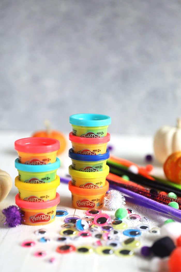 Materials for Play Doh Spiders.
