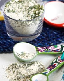 Ranch Seasoning in a ceramic teaspoon.