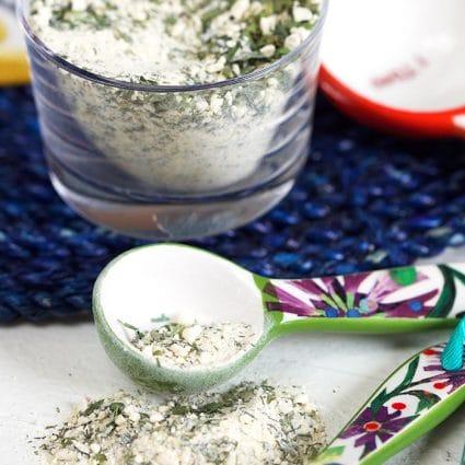 Ranch Seasoning in a ceramic teaspoon.