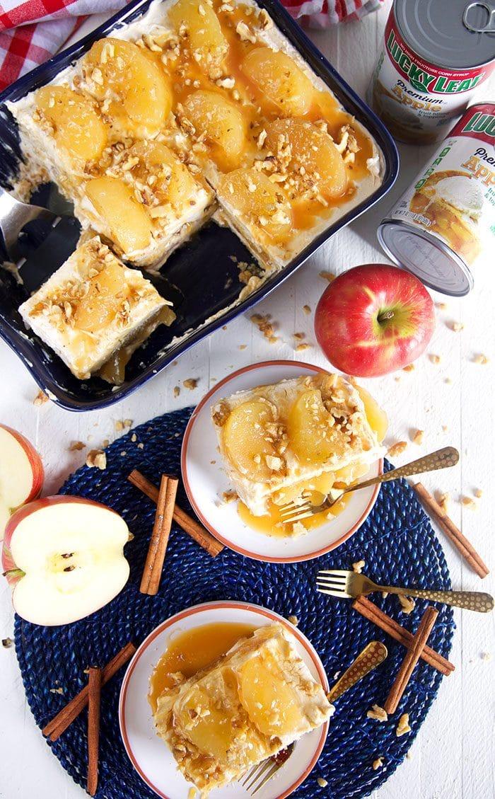 Caramel apple tiramisu in a baking dish.