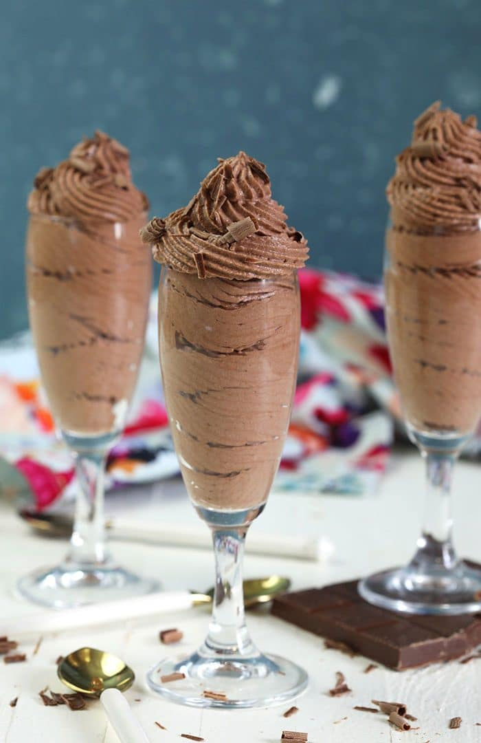 Chocolate mousse in a champagne glass.