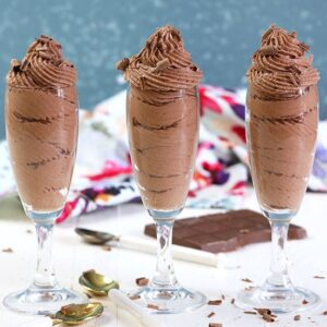 Chocolate Mousse in champagne glasses.