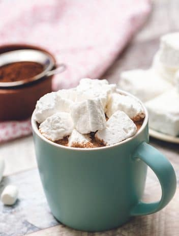 Fluffy Marshmallows in a mug of hot cocoa.