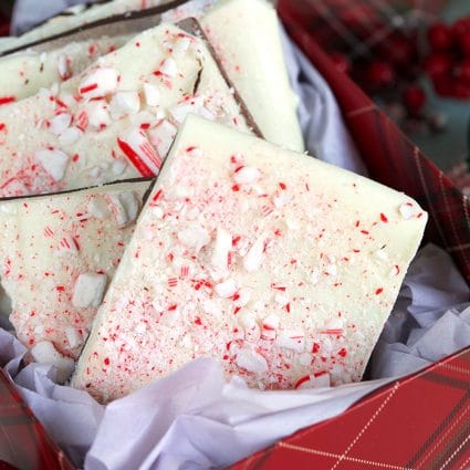 Close up of peppermint bark in a gift bos.