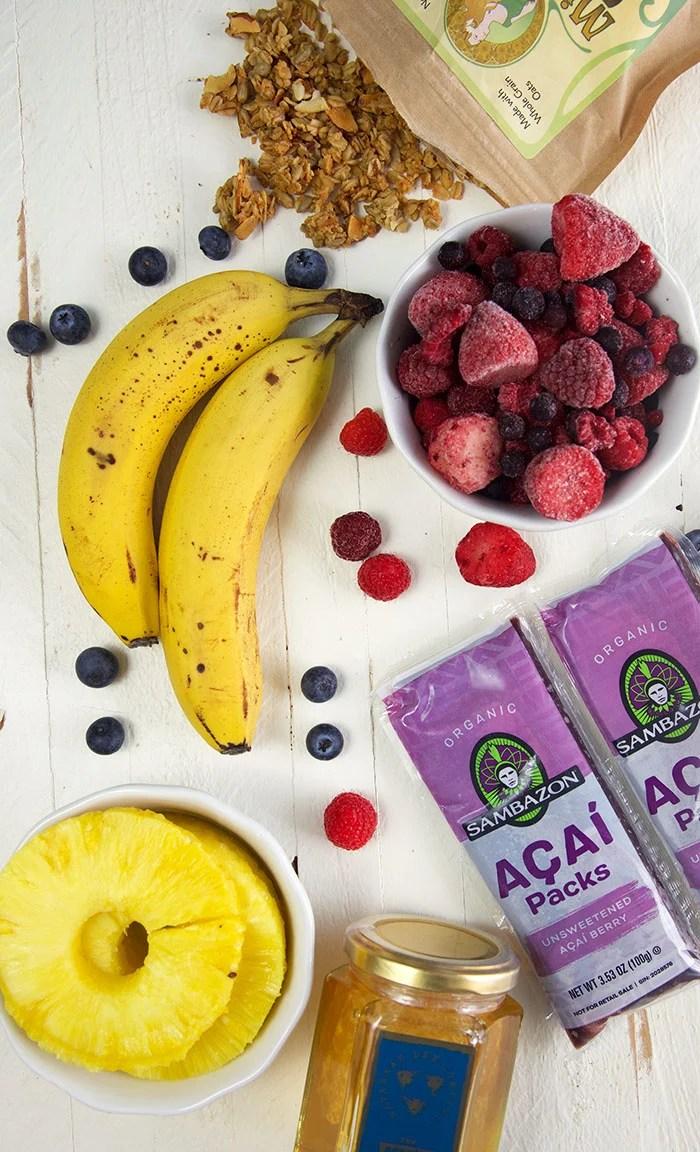 Ingredients for acai bowl recipe