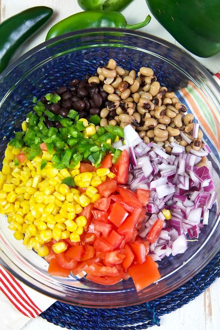 Overhead view of Texas caviar ingredients in a bowl.