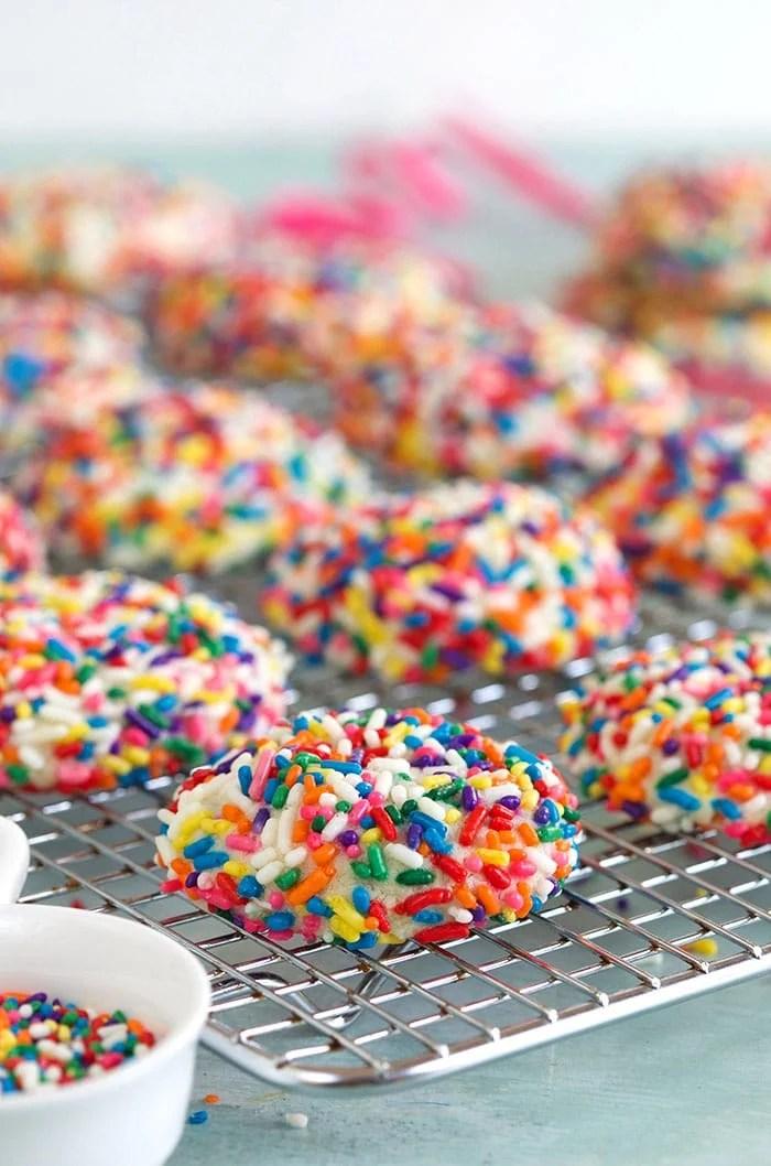 Funfetti Cookies on a baking rack.