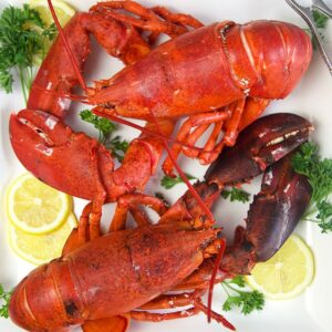 overhead shot of two cooked lobsters on a white platter with lemon and parsley.