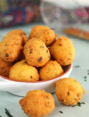 Hush Puppies in a white bowl.