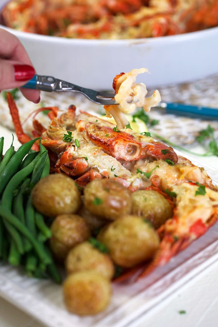 Lobster thermidor with a fork picking up a piece.
