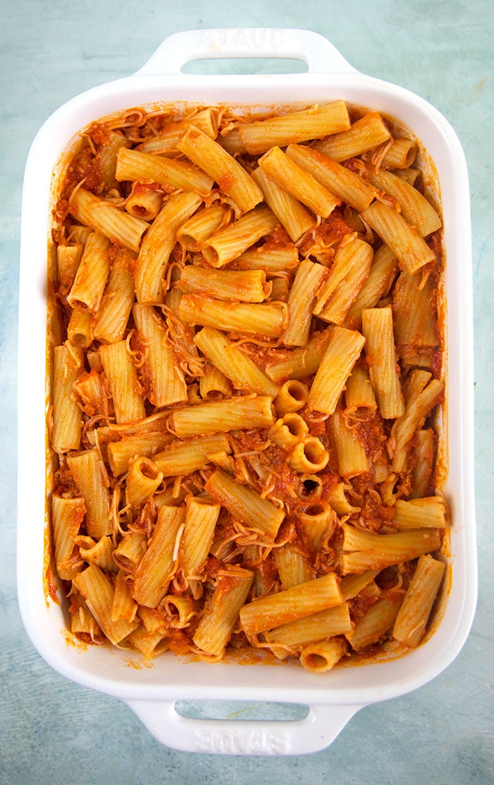 Rigatoni Bolognese ready for the oven.