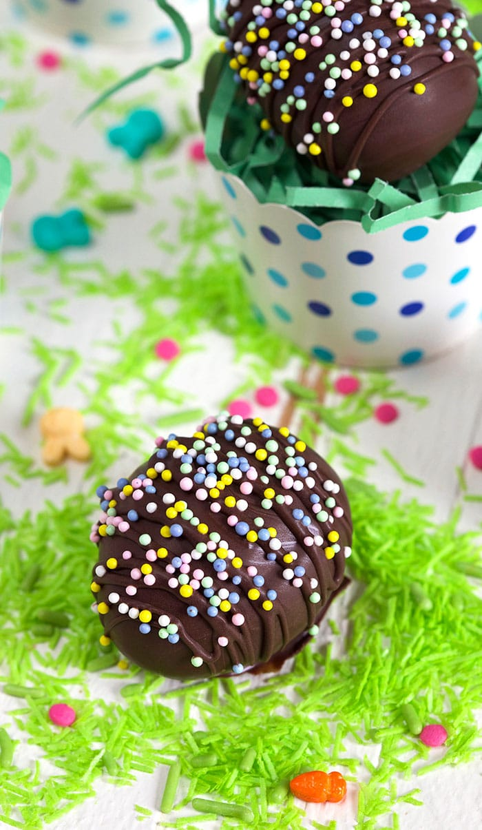 Easy Peanut Butter Eggs on candy easter grass.