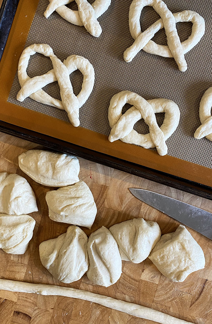 Dough balls for soft pretzels.