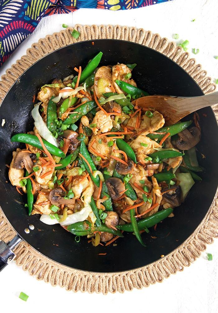 Overhead shot of American Chop Suey in a wok.