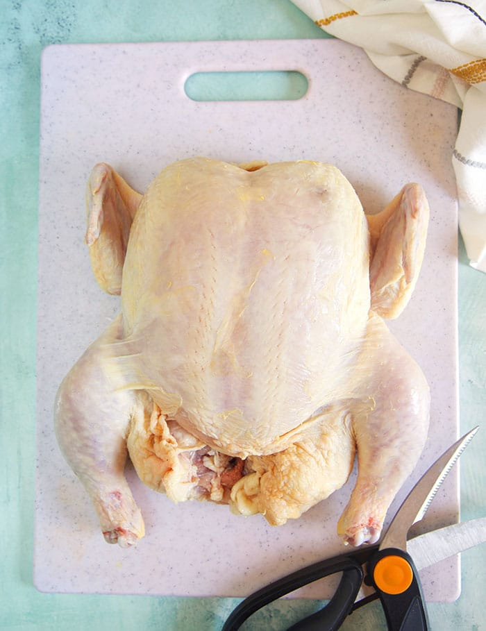 Roasting chicken on a white cutting board with a pair of poultry shears.