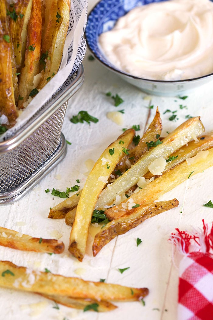 parmesan truffle fries on a white background.