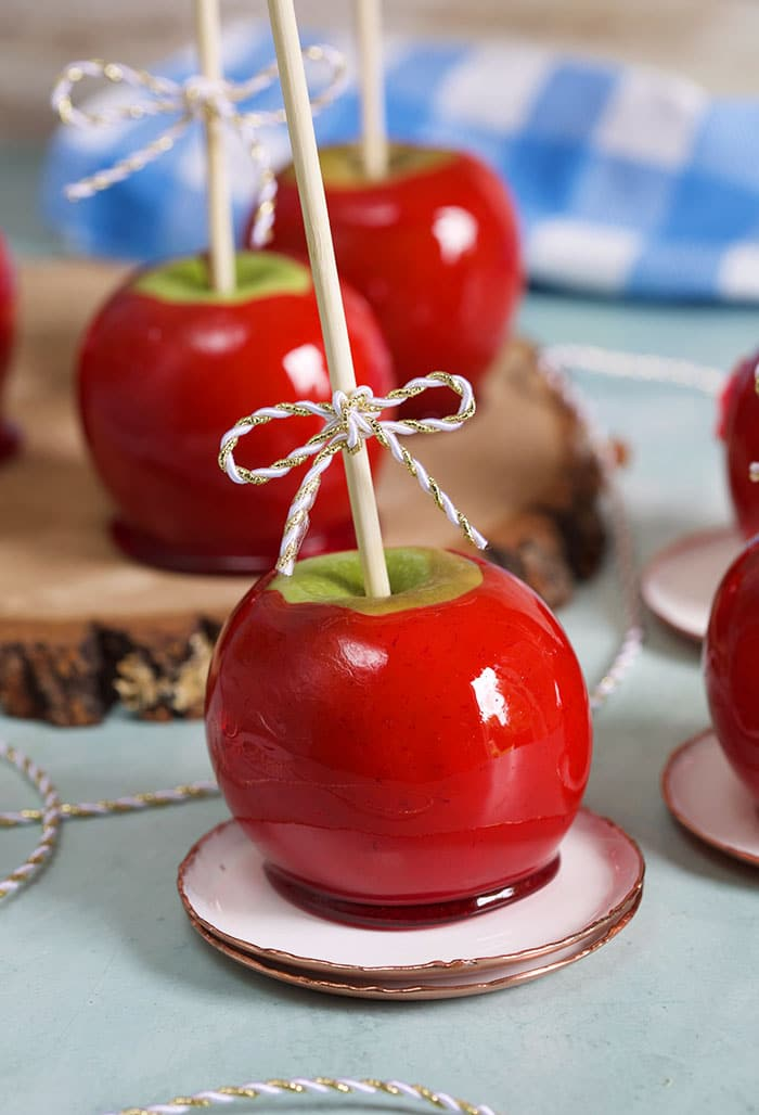 Candy apples on a wood slice on a blue background.