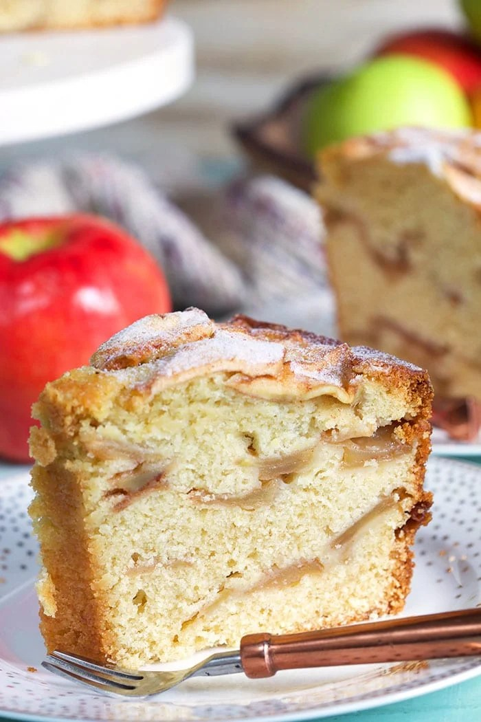 Close up of a slice of apple cake.