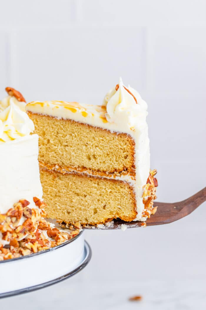 Slice of layer cake being served