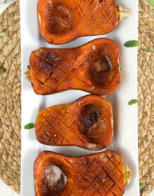 Honeynut Squash on a white platter.