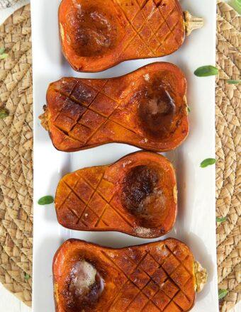 Honeynut Squash on a white platter.