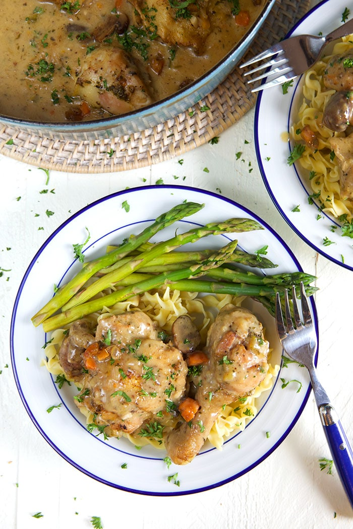 A fork sits on a plate with asparagus and chicken, ready to be eaten.