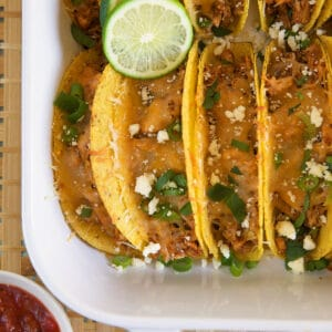 Chicken tacos are lined up and filling a white casserole dish.