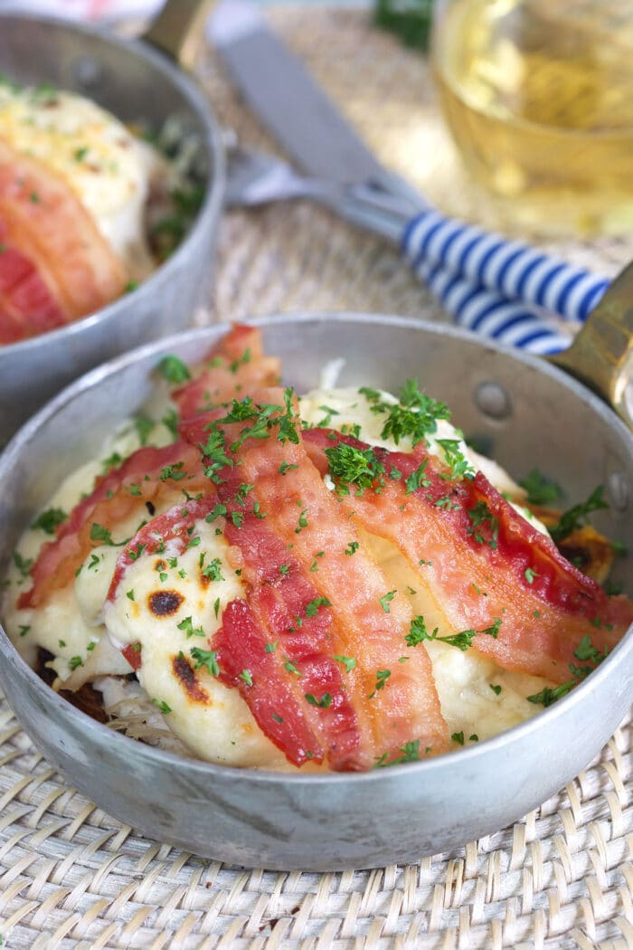 Kentucky Hot Brown in a mini skillet.