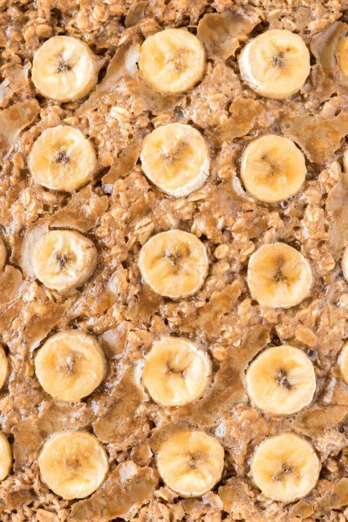 close up of bananas baked oatmeal.