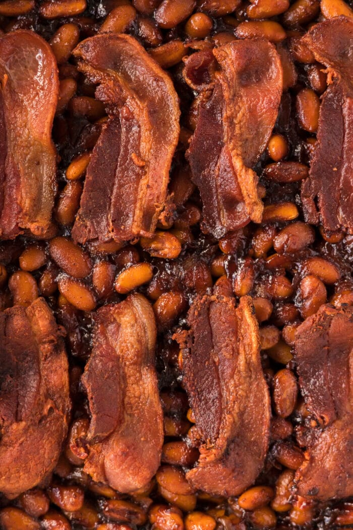 BBQ Baked Beans with bacon on top