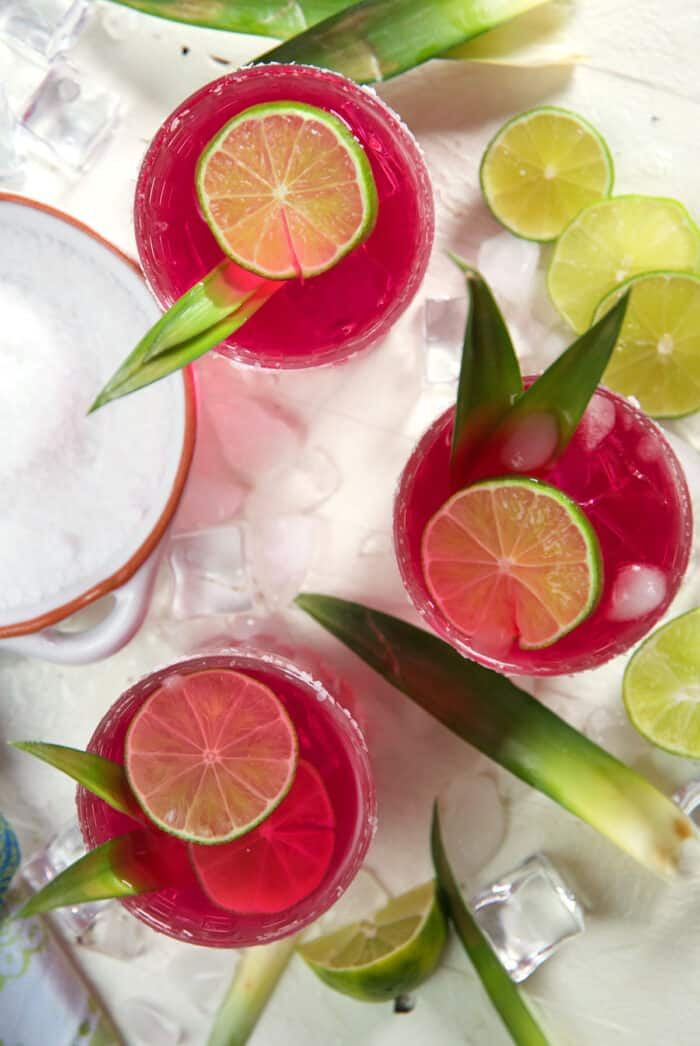 Three margaritas are placed next to each other with lime slices and pineapple leaves.