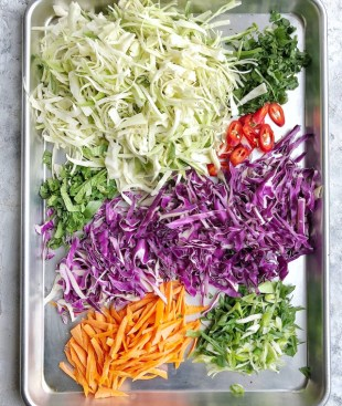ingredients for asian slaw on sheet pan