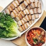 Bo Ssam platter + radish kimchi with oyster