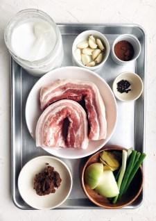 ingredients for Korean bo ssam on sheet pan