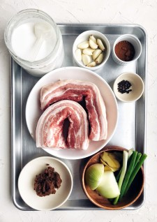 ingredients for Korean bo ssam on sheet pan