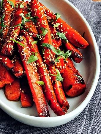 Gochujang Roasted Carrots, platter