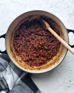 Basic chili - sweating out the veg