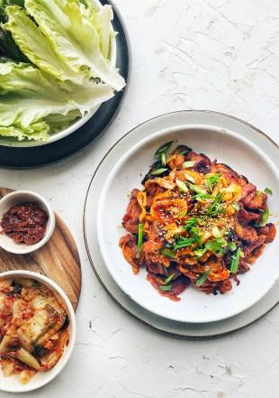 Spicy Korean Pork, platter