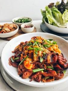 Spicy Korean Pork, on a platter