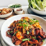 Spicy Korean Pork, on a platter