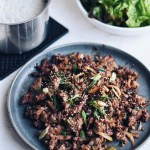 Beef Bulgogi with rice and lettuce