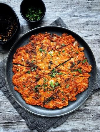 kimchi pancake on plate