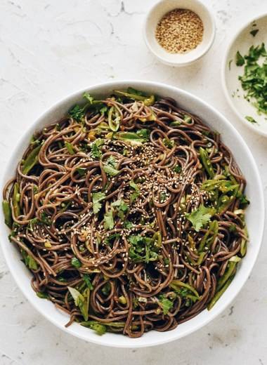 spicy soba noodles in bowl
