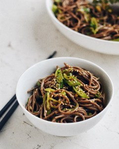 small bowl of spicy soba noodles