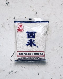 package of tapioca pearls with blue and red lettering